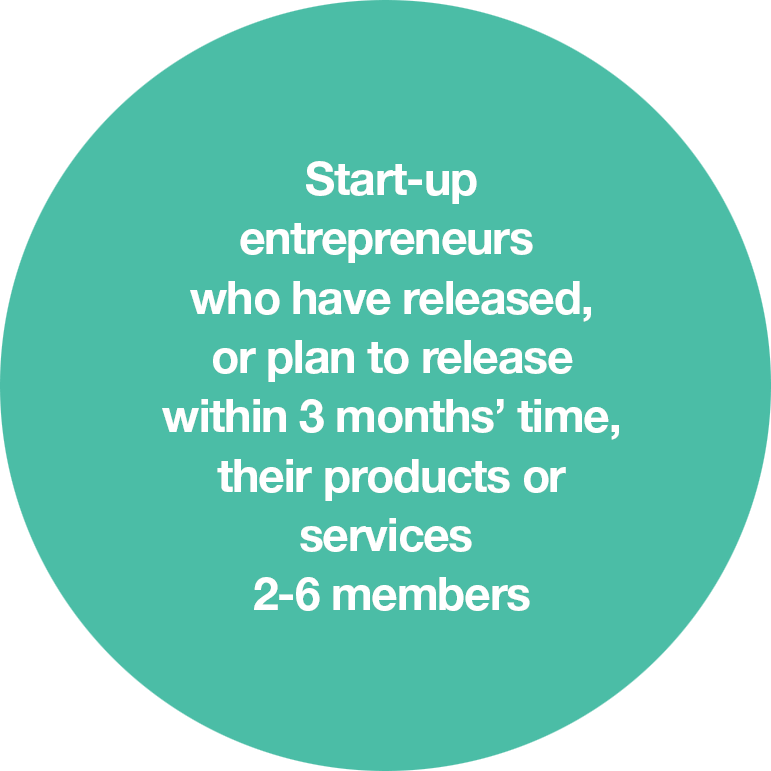 Start-up entrepreneurs who have released, or plan to release within 3 months' time, their products or services 2-6 members
