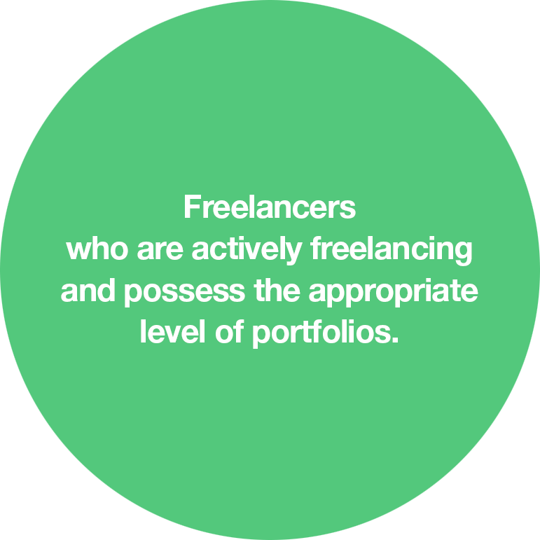 Freelancers who are actively freelancing and possess the appropriate level of portfolios.
